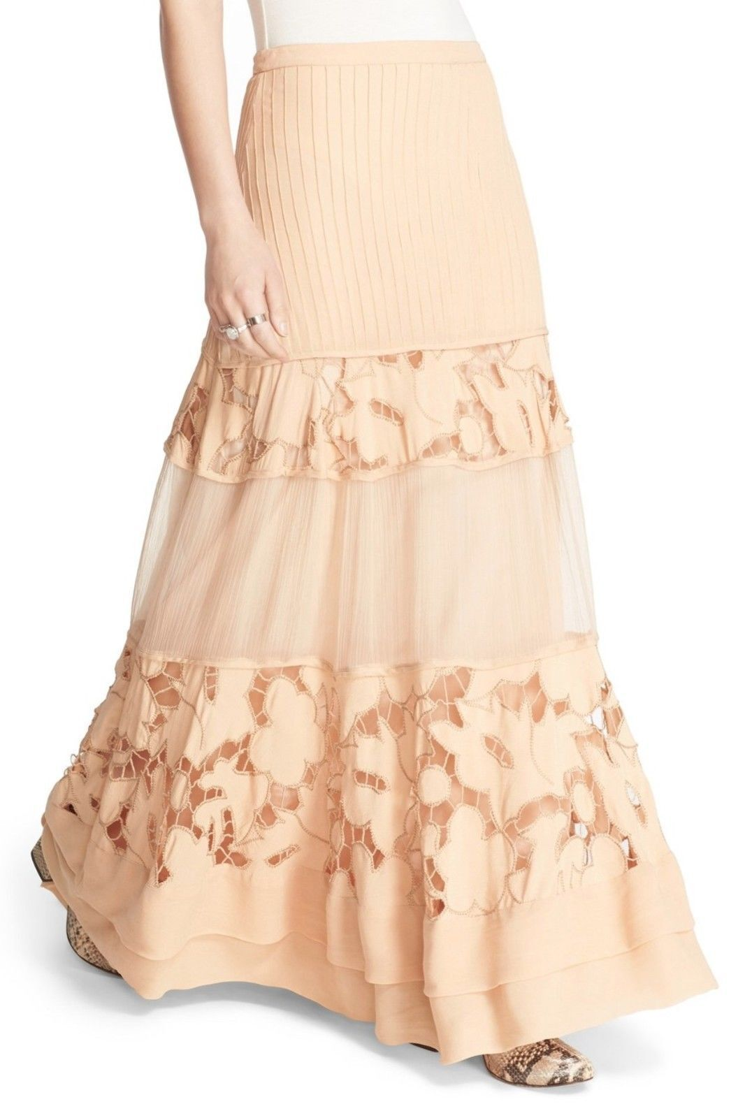 New Free People To Put It Wildly Lace Inset Maxi  Flowy Skirt Peach  248, 6