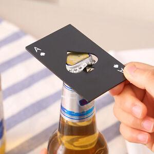 Mini-Tragbar-Poker-A-Silber-Schwarz-Flaschenoeffner-Kronkorkenoeffner-Beer-Offner