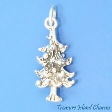 FIR TREE WITH CHRISTMAS ORNAMENTS 3D 925 Solid Sterling Silver Charm MADE IN USA