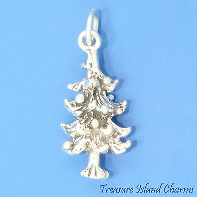 3D Christmas Tree Charm Sterling Silver .925 evergreen