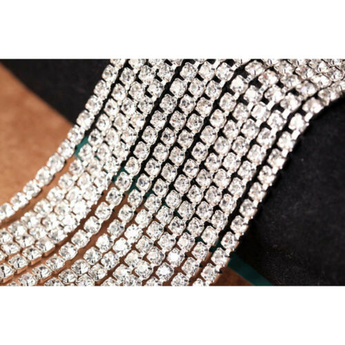 11 Yards DIY Crystal Rhinestone Close Chain Trimming Jewelry Sewing Crafts NEW
