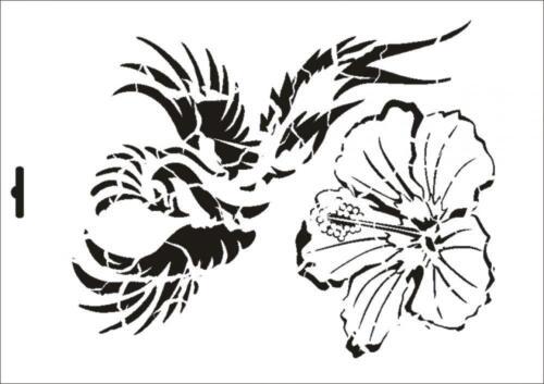 Wandschablone Maler T-shirt Schablone W-377 Vintage Hibiskus ~ UMR Design