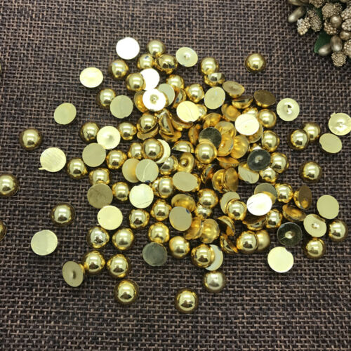 NEW DIY 12mm 20pcs Gold Half Round Pearl Bead Flat Back Scrapbook Embellishment
