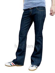 Homme Bleu Indigo Bootcut Vintage Denim Jeans Retro Fusées Mod Indie Années 70 60 S Nouveau-afficher Le Titre D'origine