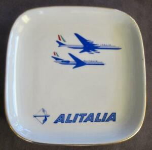 """Richard Ginori Alitalia Porcelain 5"""" Airline Gold Trimmed Plate Made in Italy"""