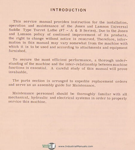 Service and Parts Manual 1964 Jones /& Lamson 7 Saddle Type Turret Lathe