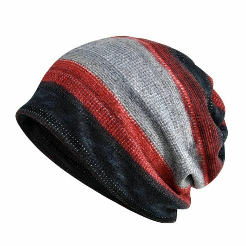 Summer beanie with black, red and gray stripes