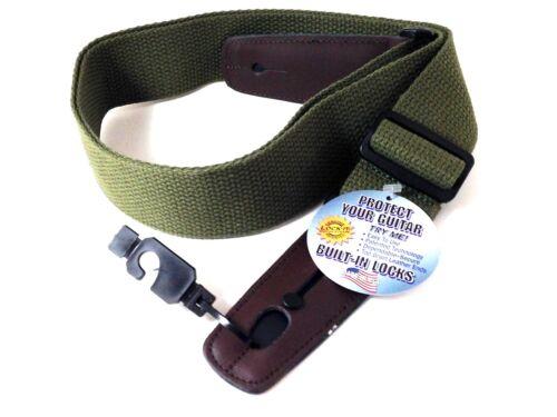 LOCK-IT Guitar Strap  Olive Green Cotton Patented Locking Technology strap lock