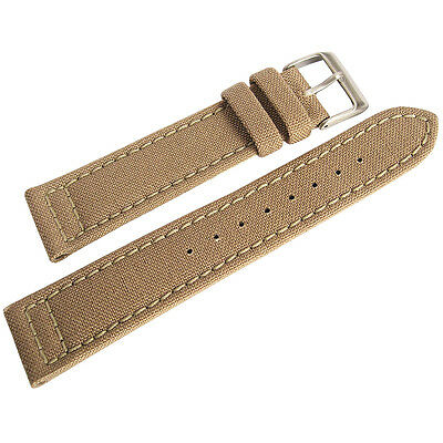 22mm Hadley-Roma MS850 Mens Sand Khaki Tan Cordura Canvas Watch Band Strap