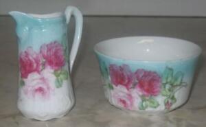 Antique-Vintage-Wheelock-amp-Co-Royal-Rose-Creamer-amp-Sugar-Bowl-Cream-Germany