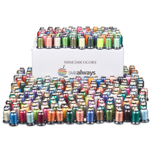 Huge Box of 260 spools 500m each Polyester Embroidery Machine Thread Set