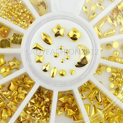 3D Gold Alloy Multi-shaped Metal Nail Art Studs Decal DIY Sticker Tips Wheel