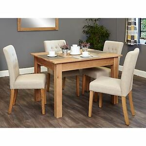 Stupendous Details About Mobel Solid Modern Oak Furniture Small Dining Table And Four Biscuit Chairs Set Home Interior And Landscaping Oversignezvosmurscom