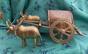 Antique-Vietnamese-Brass-Rice-Farm-Cart-Wagon-Water-Buffalo-Pair-Pulling-It