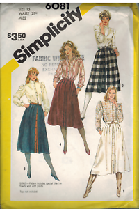 6081 Vintage Simplicity SEWING Pattern MIsses Pleated Skirt FF
