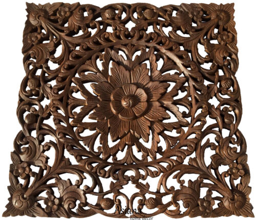 """Asian Carved Wood Wall Decor Plaque Floral Wood Wall Art Panel Dark Brown 24/"""""""