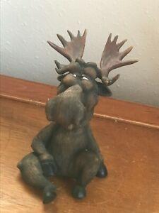 Rustic-Cabin-Comical-Brown-Resin-Cross-Eyed-Bull-Moose-Bobblehead-Figurine
