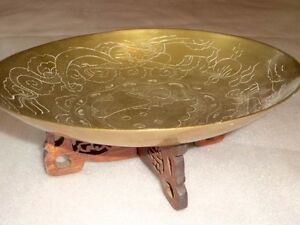 Ornate-Brass-Tray-Hand-Carved-Wood-Stand-Oriental-Display-Coins-Jewelry-Trinket