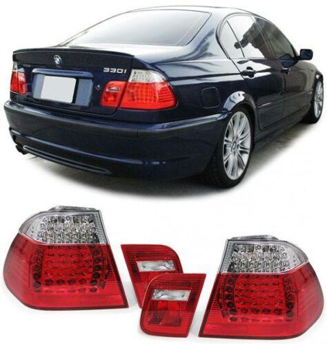 2 FEUX ARRIERE A LED ROUGE CRISTAL BMW SERIE 3 E46 BERLINE PH1 05//1998-09//2001