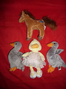Ty Beanie Babies Farm Animals Lot Of 4 ALLEGRO duck SADDLE horse HONKS goose H7