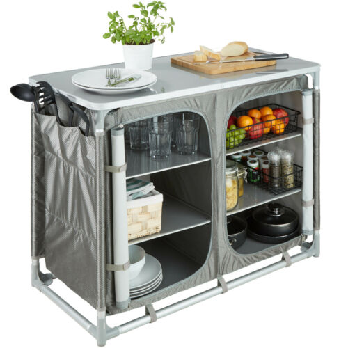 Camping Kitchen Stand Aluminium Storage Unit portable Cooking Food lightweight