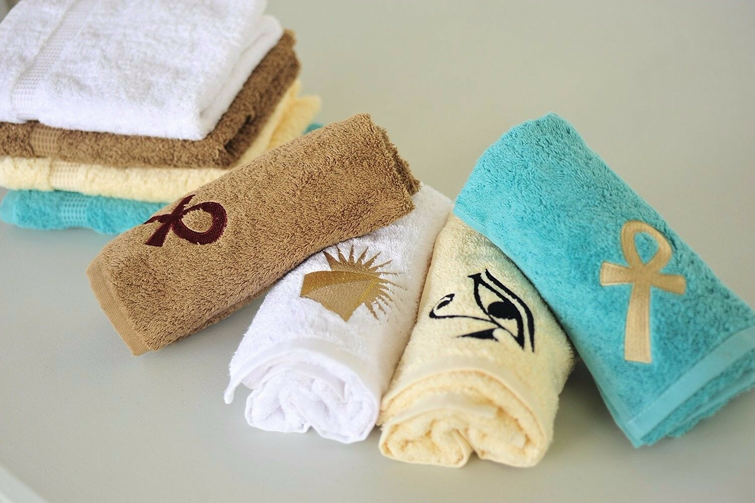 Eastern Touch 600 GSM Egyptian Cotton 6- Piece Towel Towel Towel Set, Ivory Eye of Horus 37bcda