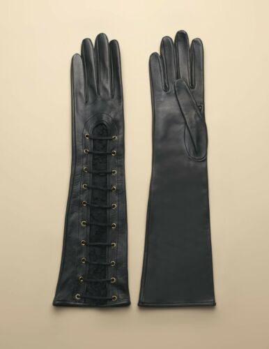 AGENT PROVOCATEUR LEENA LEATHER LONG GLOVES BLACK ONE SIZE RRP 395