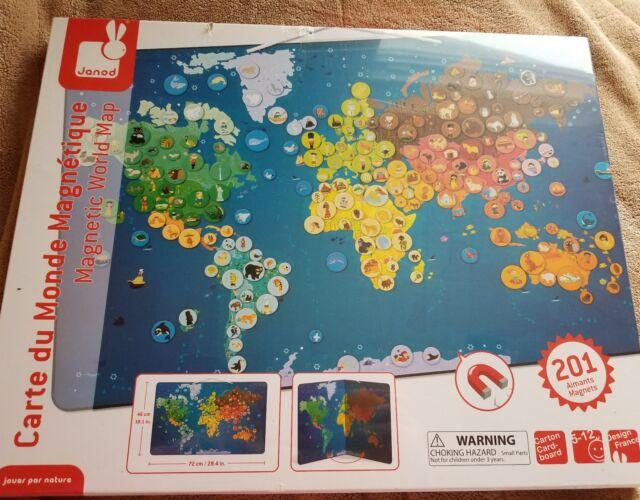 Janod World Map.Buy Janod J02889 Magnetic Animal World Map Online Ebay