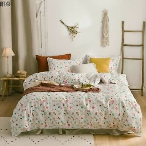 Luxury Korean Cotton Flowers Bedding Set Bedspread Embroidered Lace Set  Printed