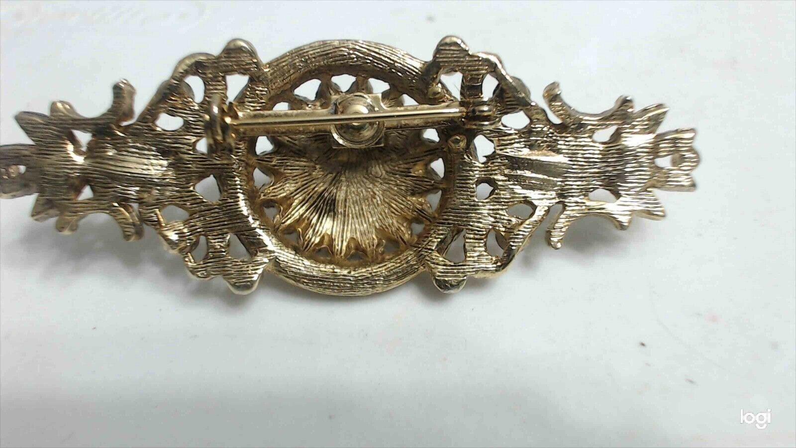 Vintage Baroque Gold Tone Faux Pearl Ornate Bar B… - image 5