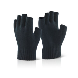 10 x Pairs Click Black Acrylic Knitted Winter Warm Work Gloves Minimal Risk Cold