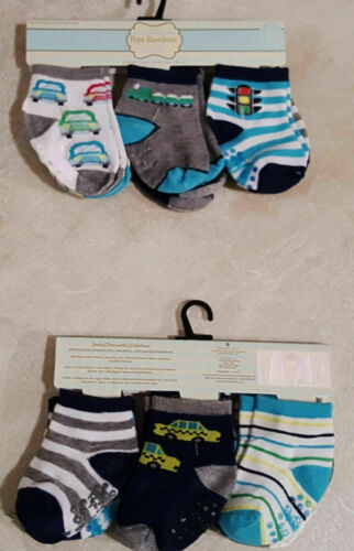 Boys New Infant//Toddler Set of 6 Non Skid Socks-6-12M-12-24M-Shoe Size-4-7
