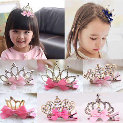 Kid Baby Girl Princess Crown Hair Clip Rhinestone Ribbon Hairpin Bow Bowknot