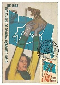BASKETBALL-POSTAL-HISTORY-MAXIMUM-CARD-BRAZIL-1959