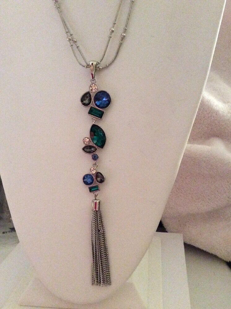 Eye Catching New Necklace with an Array of Vivid Colorful Feathers nwt #N2618