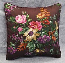 "Pillow made w/ Ralph Lauren Brittany Purple Plum Floral Fabric 16"" trim cord NEW"