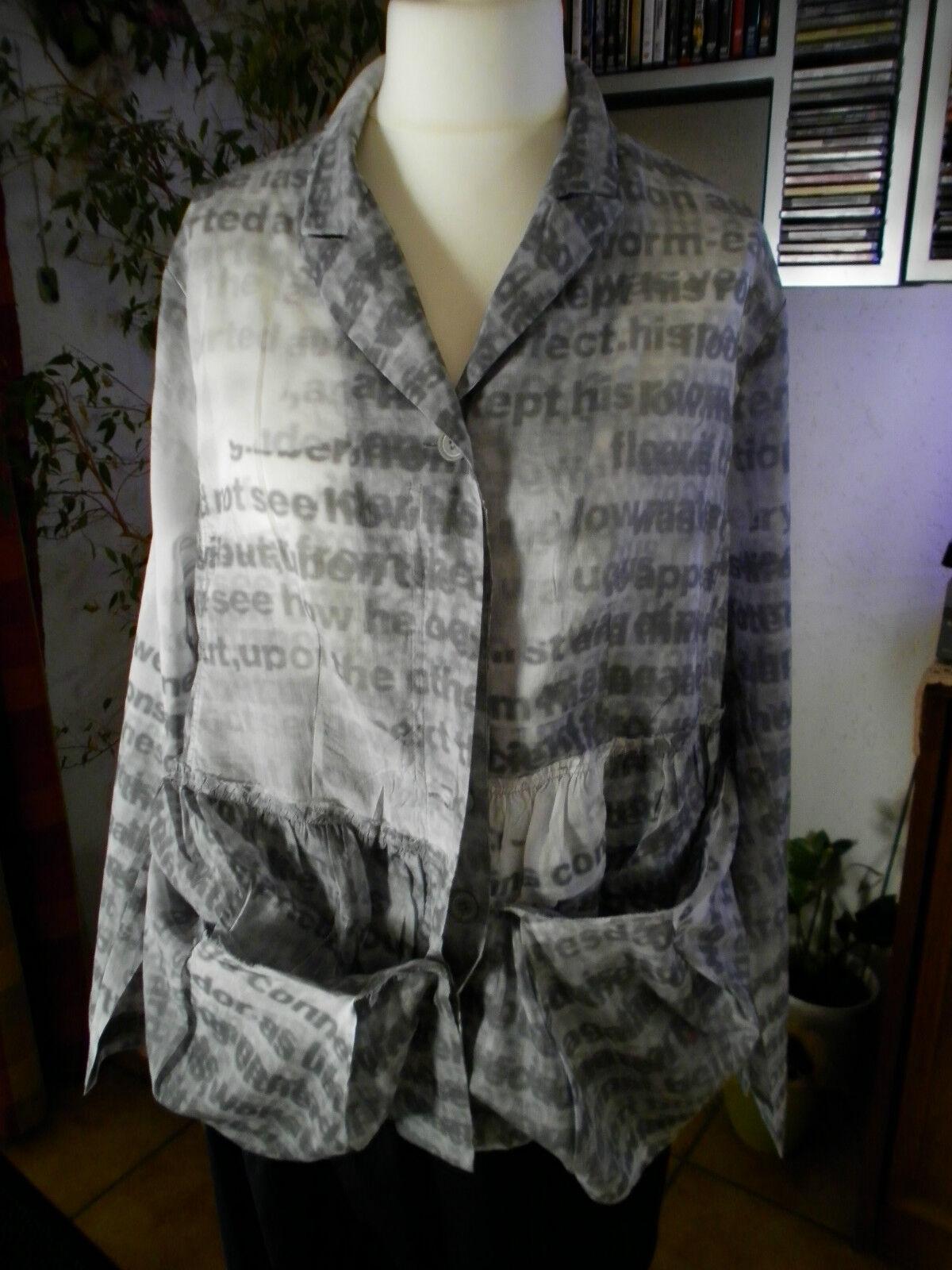 Rundholz schwarz Label,Blause Blausenjacke Jacke,Gr.XL,Print,Lagenlook,Traumteil.
