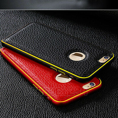 For iPhone 5 5S 6 6s Plus Luxury GENUINE LEATHER Back Case Aluminum Bumper Cover