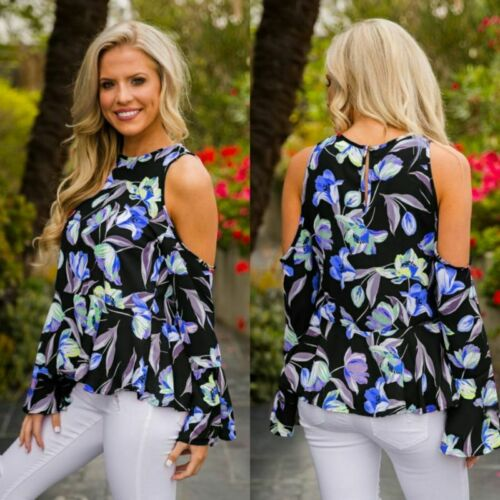 Womens Ladies Boob Tube Tops Vest T-Shirt Flower Floral Casual Pullover Jumper