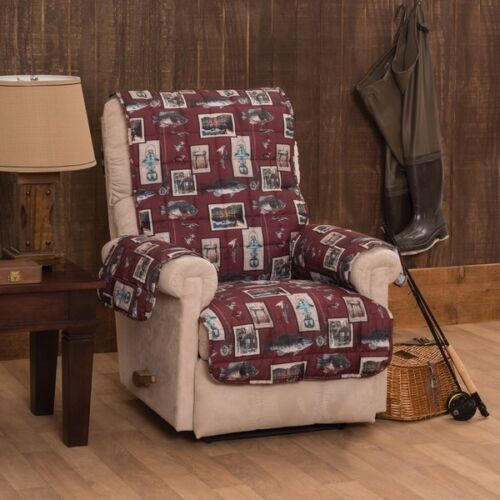 Gone Fishing Recliner Wing Chair Furniture Protector 1 Seat Cover NEW