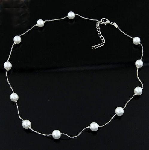 Fashion Jewelry Women Pendant Chain Pearl Choker Chunky Statement Bib Necklace