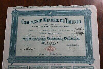 """Titre Au Porteur """" Compagnie Minière Du Triunfo - Paris 1924 """" Proporcionar Servicios Para La Gente; Haciendo La Vida MáS FáCil Para La PoblacióN"""