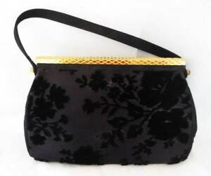 Vintage-Coblentz-Original-Black-Velvet-Satin-Tapestry-Purse-Handbag