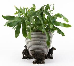 Potty Feet Decorative Sheep Themed Plant Pot Feet in Antique Bronze Coloured 3pc