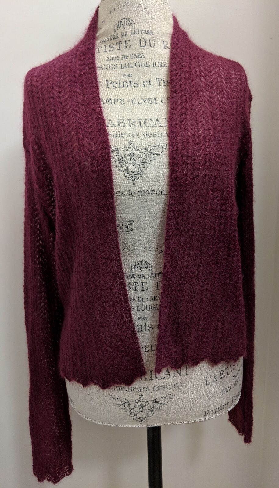 NWT Eileen Fisher Fisher Fisher Washed Mohair Cropped Cardigan Dark Pink Size Large 09c780