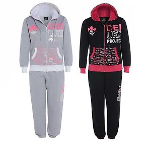 NEW WOMENS LADIES HOODED FLEECE JOGGING FULL TRACKSUIT TOP BOTTOM SIZES  8-24