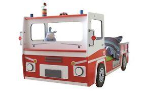 Autobett Feuerwehrauto Bett Kinderbett 90x200 Auto Jugendbett rot ...