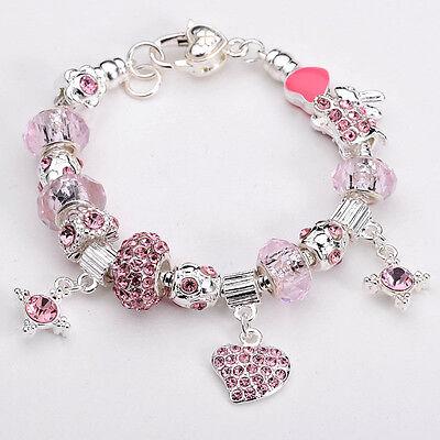 New Silver European Murano Glass Beads Charm Bracelet+Box BXB147 Fast shipping!!