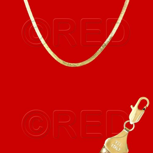 """GOLD over SILVER QUALITY MADE in ITALY 4mm HERRINGBONE CHAIN 18/""""   NECKLACE H4E"""