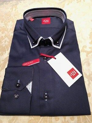 SchöN Mens Navy Double Collar Button Down Italian Slim Fit Shirt (we Have Others) Hell In Farbe